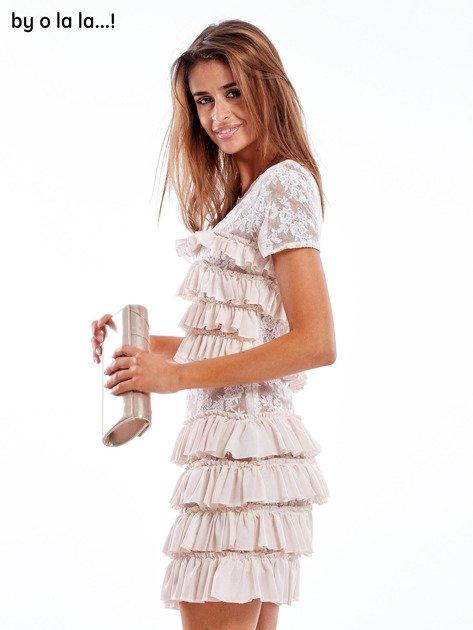 Sukienka jasnoróżowa z falbanami BY O LA LA                                   zdj.                                  3