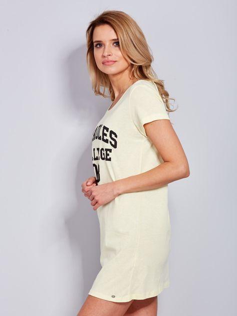 Sukienka jasnożółta bawełniana z napisem COLLEGE                                  zdj.                                  5