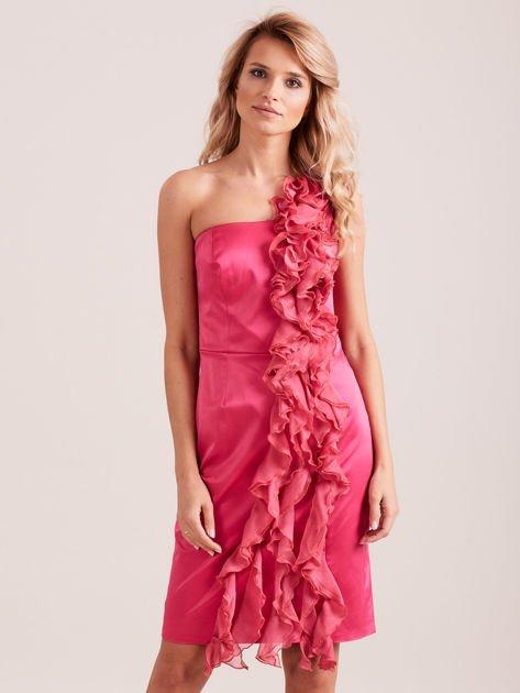 Sukienka koktajlowa na jedno ramię fuksjowa                              zdj.                              1