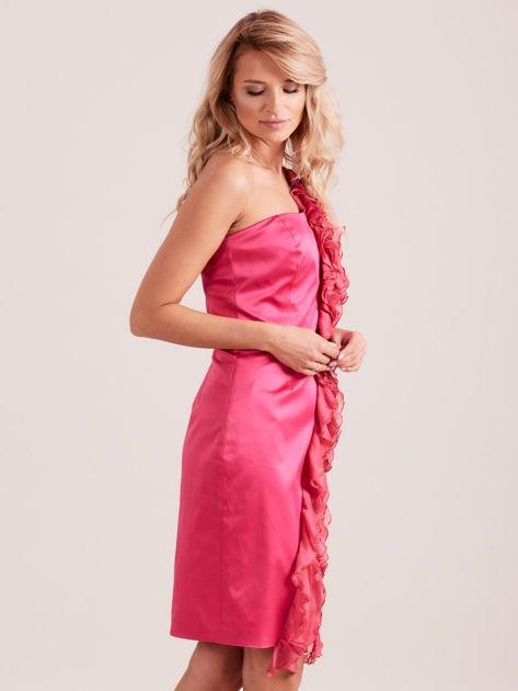 Sukienka koktajlowa na jedno ramię fuksjowa                              zdj.                              2