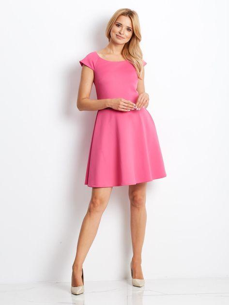 Sukienka koktajlowa z błyszczącym paskiem różowa                                  zdj.                                  5