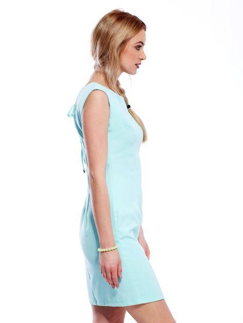 Sukienka miętowa z wiązaniem z tyłu                                  zdj.                                  5