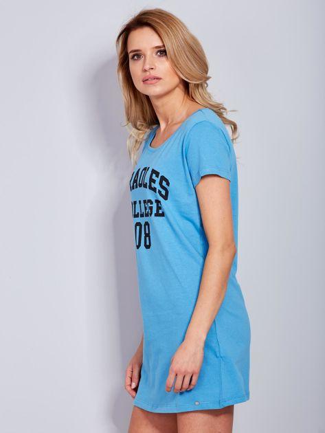 Sukienka niebieska bawełniana z napisem COLLEGE                                  zdj.                                  3