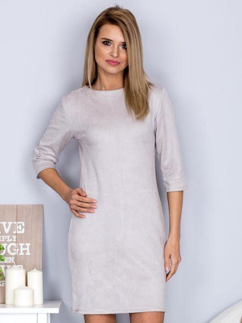 Sukienka o zamszowej fakturze jasnoszara                                  zdj.                                  1