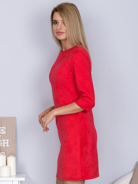 Sukienka o zamszowej fakturze różowa                                  zdj.                                  3