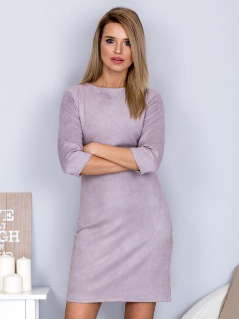 Sukienka o zamszowej fakturze szara                                  zdj.                                  1
