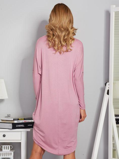 Sukienka oversize z dłuższym tyłem liliowa                                  zdj.                                  2