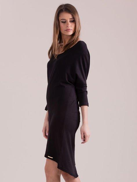 Sukienka oversize z obniżoną linią ramion czarna                              zdj.                              3
