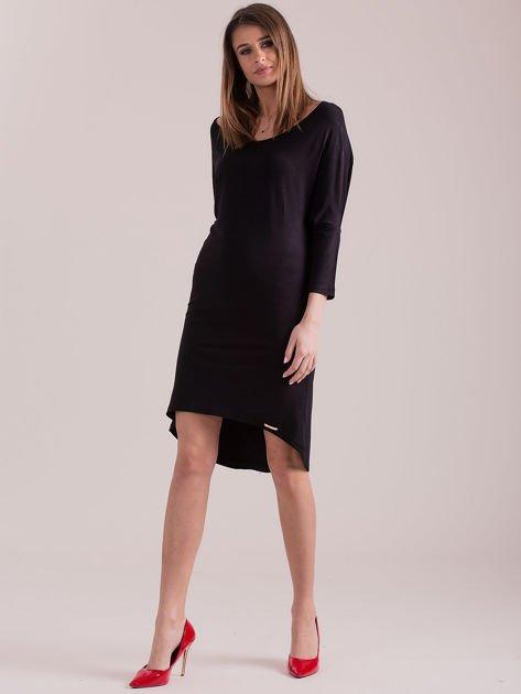 Sukienka oversize z obniżoną linią ramion czarna                              zdj.                              4