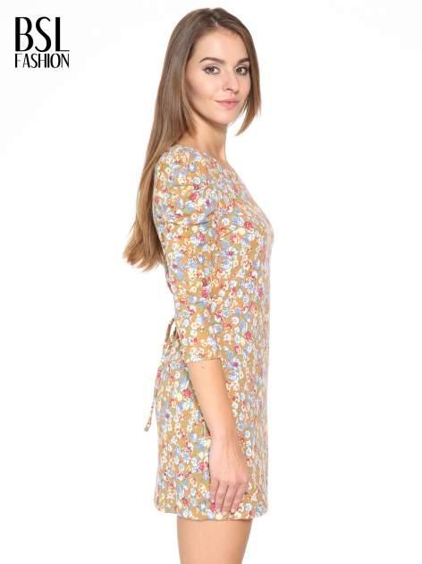 Sukienka w łączkę z marszczonymi rękawkami                                  zdj.                                  3