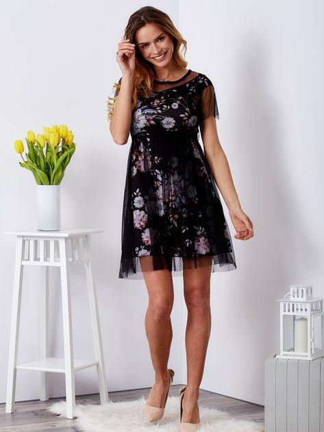 Sukienka warstwowa z kwiatowym motywem czarna                              zdj.                              4