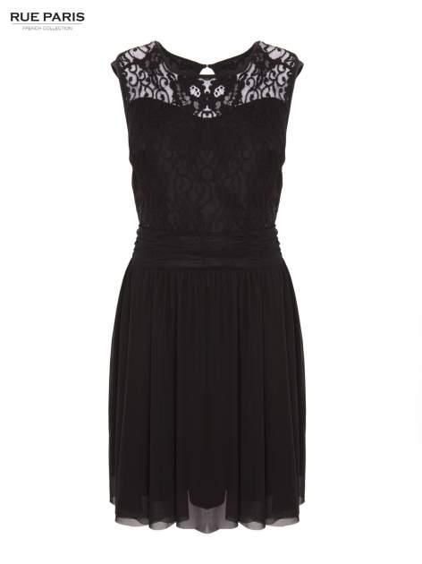 Sukienka z aplikacją z czarnej koronki i rozkloszowanym dołem                                  zdj.                                  1