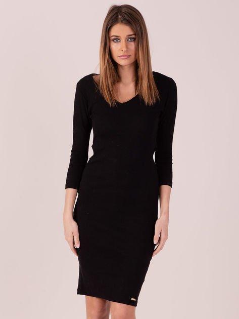 Sukienka z bocznymi wycięciami czarna                              zdj.                              1