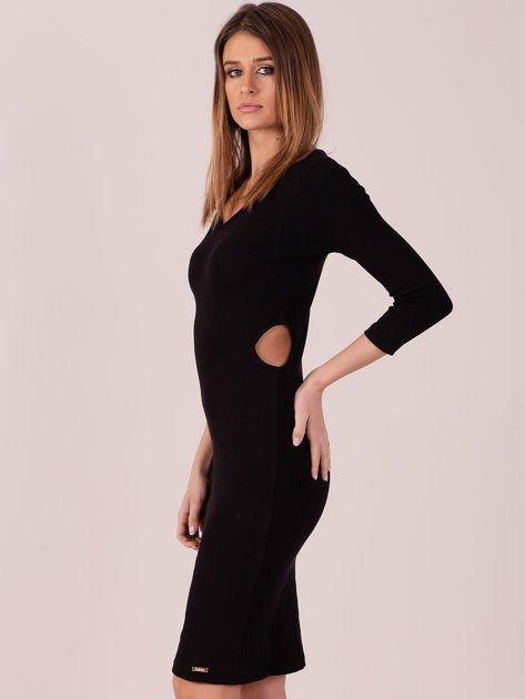 Sukienka z bocznymi wycięciami czarna                              zdj.                              2