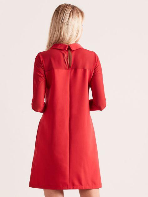Sukienka z kołnierzykiem czerwona                              zdj.                              2