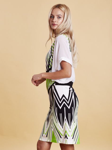 Sukienka z symetrycznym nadrukiem zielona                              zdj.                              2