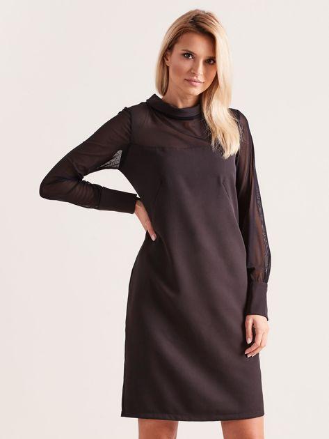 Sukienka ze stójką czarna                               zdj.                              1
