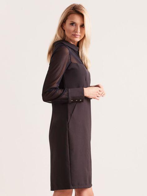 Sukienka ze stójką czarna                               zdj.                              3