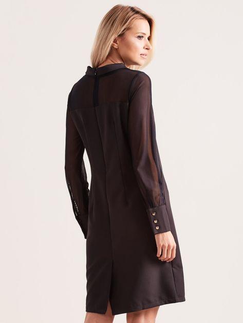 Sukienka ze stójką czarna                               zdj.                              2