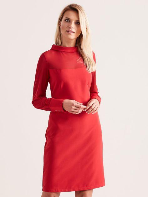 Sukienka ze stójką czerwona                               zdj.                              1