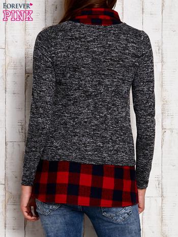 Sweter z koszulą w kratę ciemnoszary                                  zdj.                                  4