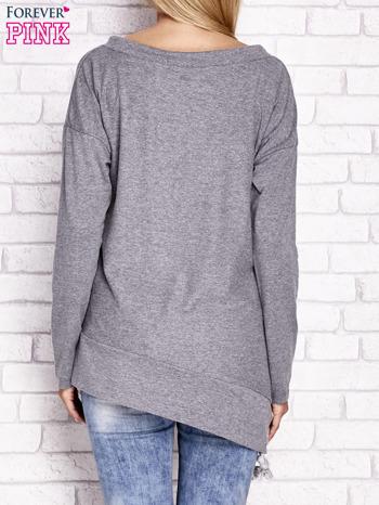 Szara asymetryczna bluza z troczkami                              zdj.                              4