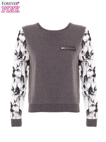 Szara bluza dresowa z rękawami w motyw kwiatowy                                  zdj.                                  2