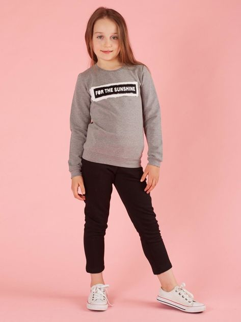 Szara bluza dziewczęca z futrzaną aplikacją                              zdj.                              4