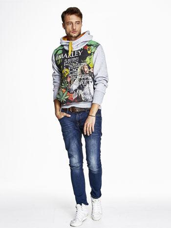 Szara bluza męska z kapturem z nadrukiem reggae                                  zdj.                                  4