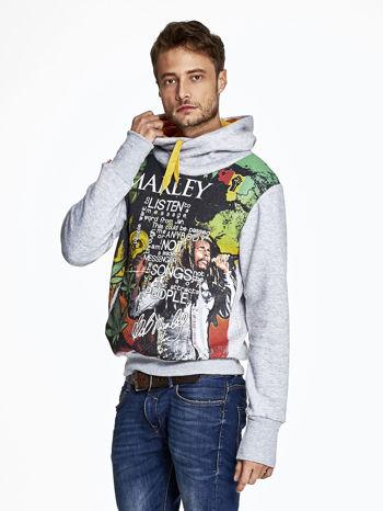 Szara bluza męska z kapturem z nadrukiem reggae                              zdj.                              3