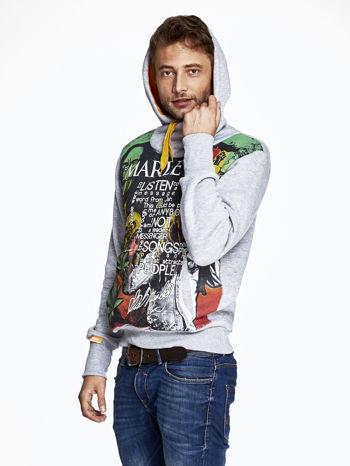 Szara bluza męska z kapturem z nadrukiem reggae                              zdj.                              5