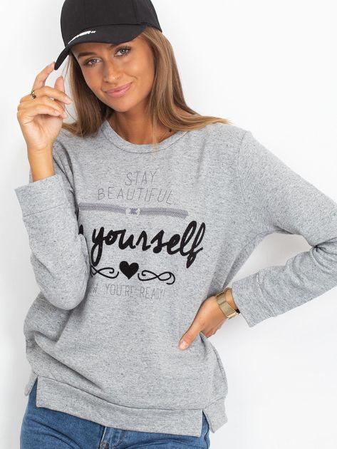 Szara bluza oversize z napisem STAY BEAUTIFUL