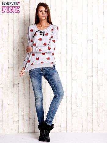 Szara bluza w arbuzy z wiązaniem                              zdj.                              2