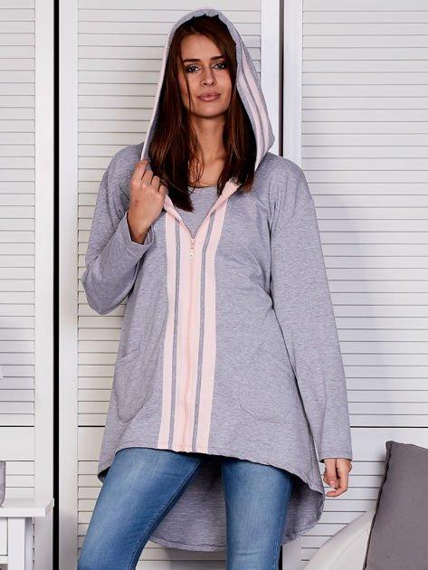 Szara bluza z kontrastowym suwakiem                               zdj.                              5