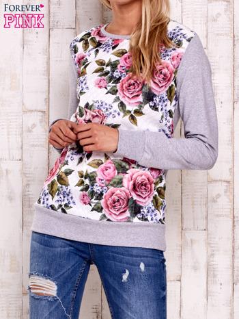 Szara bluza z kwiatowym nadrukiem                                  zdj.                                  1