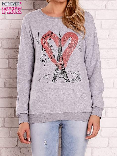 Szara bluza z motywem paryskim                                  zdj.                                  1