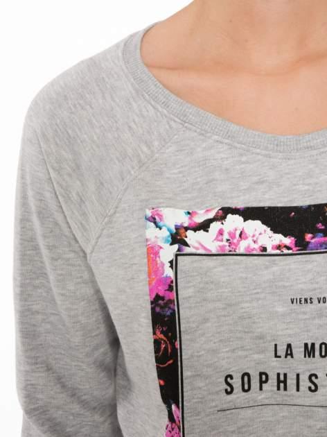 Szara bluza z nadrukiem LA MODE                                  zdj.                                  5