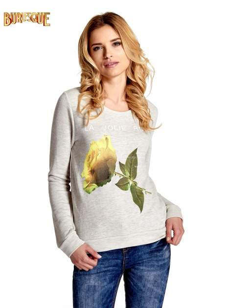 Szara bluza z nadrukiem róży                                  zdj.                                  1