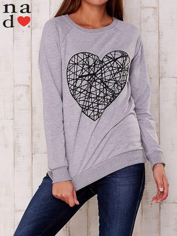 Szara bluza z nadrukiem serca                                  zdj.                                  1