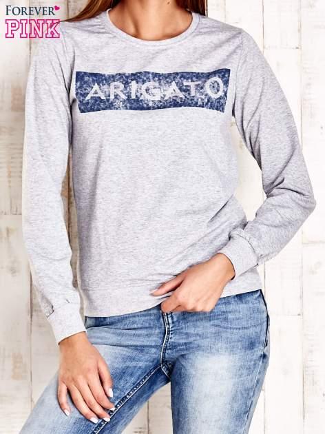 Szara bluza z napisem ARIGATO