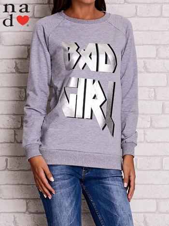 Szara bluza z napisem BAD GIRL                                  zdj.                                  1