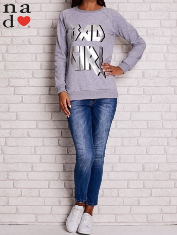 Szara bluza z napisem BAD GIRL                                  zdj.                                  2