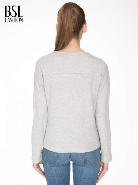 Szara bluza z ozdobnym suwakiem                                  zdj.                                  4
