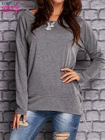 Szara bluza z wiązaniami                               zdj.                              1