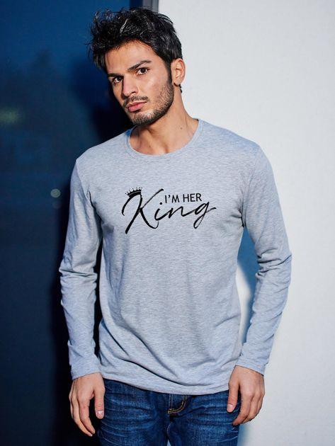 Szara bluzka męska longsleeve I'M HER KING dla par                                  zdj.                                  1