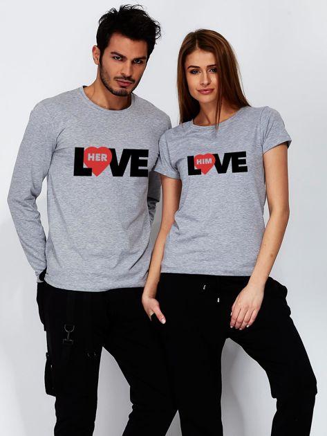 Szara bluzka męska z napisem LOVE HER dla par                                  zdj.                                  3
