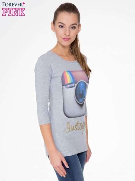 Szara bluzka z nadrukiem loga Instagrama                                  zdj.                                  3