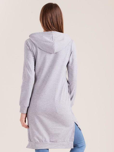 Szara długa bluza z kapturem I NEED COFFEE                              zdj.                              2