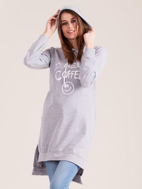 Szara długa bluza z kapturem I NEED COFFEE                              zdj.                              5