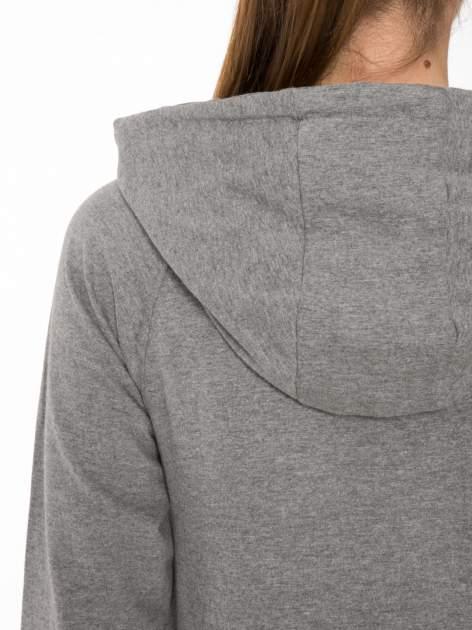 Szara długa bluza z kapturem w stylu baseballowym                                  zdj.                                  5
